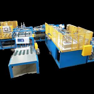 Máquina de corte, costura e inserção de liner automática